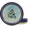 11-inch Stoneware Set of 6 Plates - Polmedia Polish Pottery H3613J