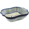 11-inch Stoneware Square Baker with Handles - Polmedia Polish Pottery H8194J