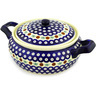 12-inch Stoneware Baker with Cover with Handles - Polmedia Polish Pottery H1023D