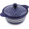 12-inch Stoneware Baker with Cover with Handles - Polmedia Polish Pottery H5969I