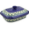 12-inch Stoneware Dish with Cover - Polmedia Polish Pottery H2164E