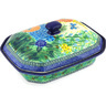 12-inch Stoneware Dish with Cover - Polmedia Polish Pottery H6776G
