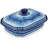 12-inch Stoneware Dish with Cover - Polmedia Polish Pottery H8659G