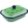 12-inch Stoneware Dish with Cover - Polmedia Polish Pottery H9554G