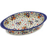 12-inch Stoneware Oval Baker with Handles - Polmedia Polish Pottery H9498J