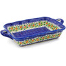 12-inch Stoneware Rectangular Baker with Handles - Polmedia Polish Pottery H0538K