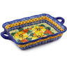 12-inch Stoneware Rectangular Baker with Handles - Polmedia Polish Pottery H1168F