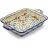 12-inch Stoneware Rectangular Baker with Handles - Polmedia Polish Pottery H3112J