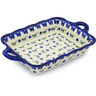 12-inch Stoneware Rectangular Baker with Handles - Polmedia Polish Pottery H4896F