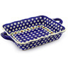 12-inch Stoneware Rectangular Baker with Handles - Polmedia Polish Pottery H4981F