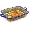 12-inch Stoneware Rectangular Baker with Handles - Polmedia Polish Pottery H5501F
