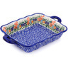 12-inch Stoneware Rectangular Baker with Handles - Polmedia Polish Pottery H7784G