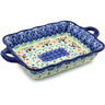 12-inch Stoneware Rectangular Baker with Handles - Polmedia Polish Pottery H8359H