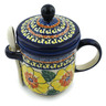 12 oz Stoneware Brewing Mug with Spoon - Polmedia Polish Pottery H3668C
