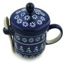 12 oz Stoneware Brewing Mug with Spoon - Polmedia Polish Pottery H4169I