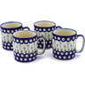 12 oz Stoneware Set of 4 Mugs - Polmedia Polish Pottery H0002K