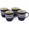 12 oz Stoneware Set of 4 Mugs - Polmedia Polish Pottery H0010K