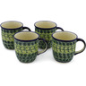 12 oz Stoneware Set of 4 Mugs - Polmedia Polish Pottery H0011K