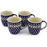 12 oz Stoneware Set of 4 Mugs - Polmedia Polish Pottery H0013K