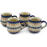 12 oz Stoneware Set of 4 Mugs - Polmedia Polish Pottery H0015K