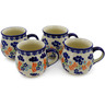 12 oz Stoneware Set of 4 Mugs - Polmedia Polish Pottery H0016K