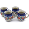 12 oz Stoneware Set of 4 Mugs - Polmedia Polish Pottery H0025K