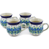 12 oz Stoneware Set of 4 Mugs - Polmedia Polish Pottery H0026K