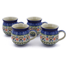 12 oz Stoneware Set of 4 Mugs - Polmedia Polish Pottery H0029K