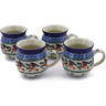 12 oz Stoneware Set of 4 Mugs - Polmedia Polish Pottery H0031K