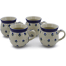 12 oz Stoneware Set of 4 Mugs - Polmedia Polish Pottery H0032K