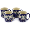 12 oz Stoneware Set of 4 Mugs - Polmedia Polish Pottery H9997J