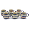 12 oz Stoneware Set of 6 Mugs - Polmedia Polish Pottery H0017K