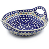 13-inch Stoneware Bowl with Handles - Polmedia Polish Pottery H3069J