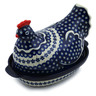 13-inch Stoneware Hen Shaped Jar - Polmedia Polish Pottery H7306E