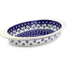 13-inch Stoneware Oval Baker with Handles - Polmedia Polish Pottery H1361G