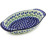 13-inch Stoneware Oval Baker with Handles - Polmedia Polish Pottery H5063G