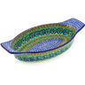 13-inch Stoneware Oval Baker with Handles - Polmedia Polish Pottery H6164G