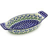 13-inch Stoneware Oval Baker with Handles - Polmedia Polish Pottery H6558G