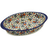 13-inch Stoneware Oval Baker with Handles - Polmedia Polish Pottery H9503J