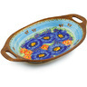13-inch Stoneware Platter with Handles - Polmedia Polish Pottery H1306F