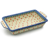 13-inch Stoneware Rectangular Baker with Handles - Polmedia Polish Pottery H3631K