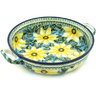13-inch Stoneware Round Baker with Handles - Polmedia Polish Pottery H1098H