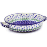 13-inch Stoneware Round Baker with Handles - Polmedia Polish Pottery H7658B