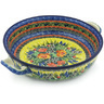13-inch Stoneware Round Baker with Handles - Polmedia Polish Pottery H8311G