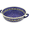 13-inch Stoneware Round Baker with Handles - Polmedia Polish Pottery H8460C