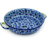 13-inch Stoneware Round Baker with Handles - Polmedia Polish Pottery H8654D