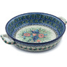 13-inch Stoneware Round Baker with Handles - Polmedia Polish Pottery H8858H