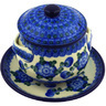 13 oz Stoneware Bouillon Cup with Lid and Saucer - Polmedia Polish Pottery H3088B