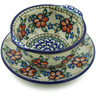 13 oz Stoneware Bouillon Cup with Saucer - Polmedia Polish Pottery H5336A