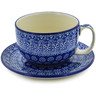 13 oz Stoneware Cup with Saucer - Polmedia Polish Pottery H2971B